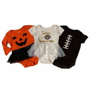 Fall football Halloween Bundle onsie outfits 0-3M